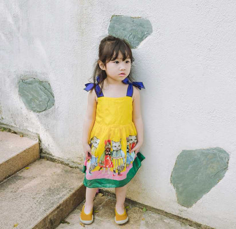 Summer cartoon cat print yellow baby Girls strap Dress kids fashion dress 3 to 8 yrs - babiesrhere