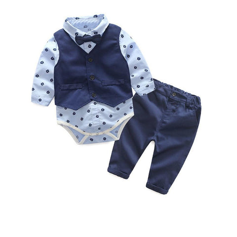 Autumn Fashion infant clothing Baby Suit Baby Boys Clothes Gentleman Bow Tie Baby Set - babiesrhere