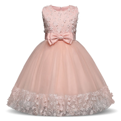 Girls Dress Mesh Pearls Children Wedding Party Dresses Kids Evening Ball Gowns Formal Baby Frocks Clothes for Girl 4-10Yrs - babiesrhere