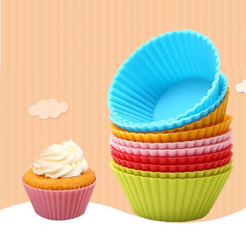12pcs Muffin Silicone Mold Bakeware Cupcake Liners Mold Baking Cake Decorating Tools - babiesrhere