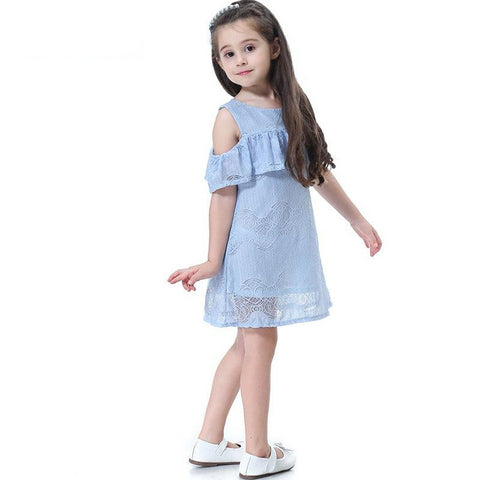 Summer Casual Girls Clothes Lace And Flower Design Baby Girls Dress Kids Dresses - babiesrhere