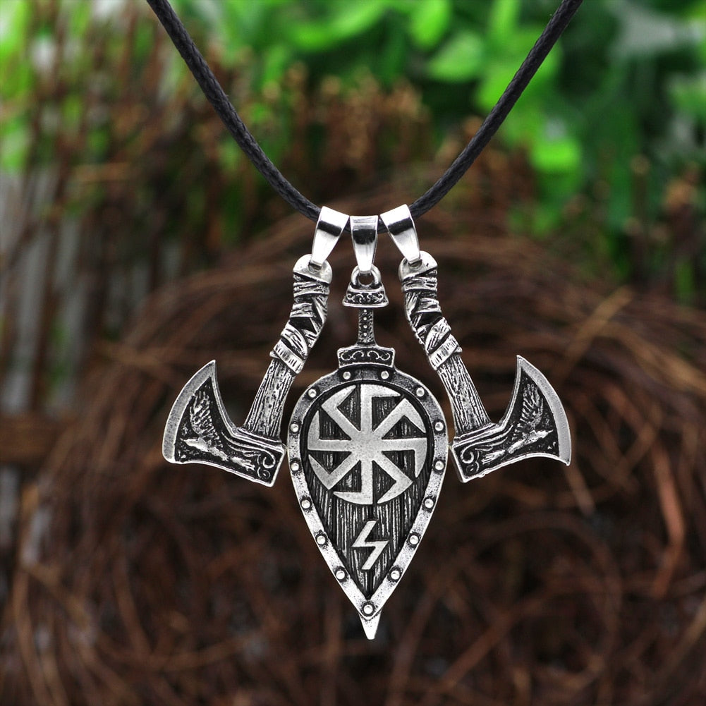 Viking Men Odin raven Slavic Amulet Sword Axe Shield Pendant Necklace  Jewelry