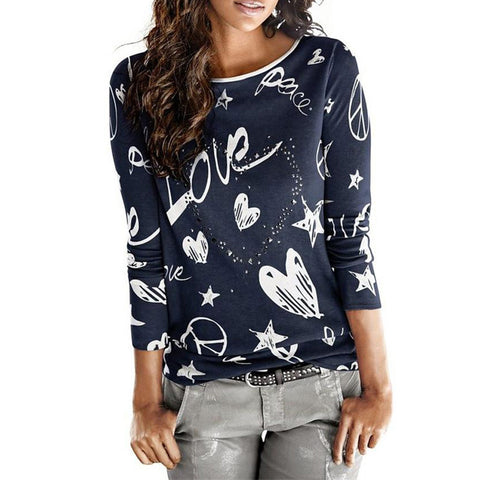 Vintage Printing T-Shirt Women's Vogue Love Heart Pattern Casual Cotton Blend Tops - babiesrhere