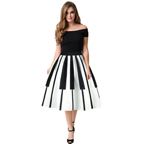 Women summer Piano Keys Printed High Waist Thin Fancy Pattern party dresses vestidos
