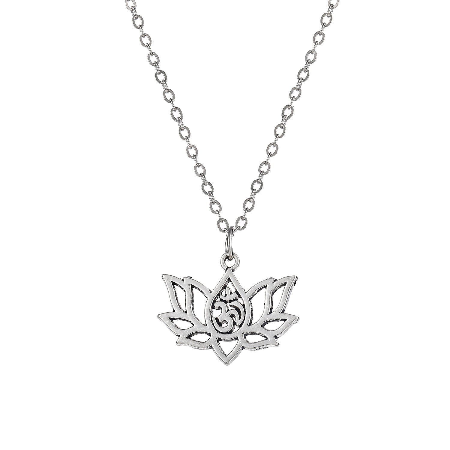 Women Single Layer Necklace Pendant Gold Silver Lotus Flower Chain