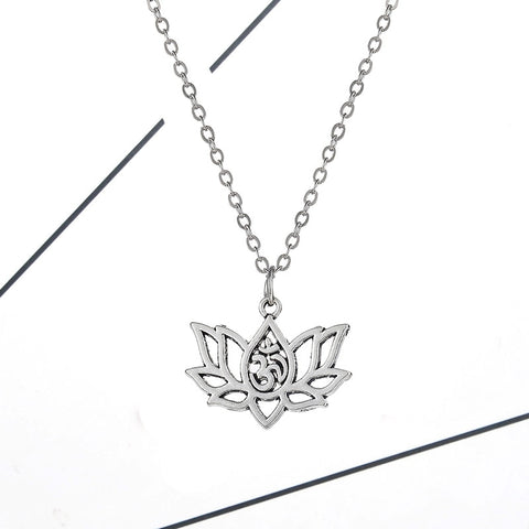Women Single Layer Necklace & Pendant Gold Silver Lotus Flower Chain Collar Necklace Jewelry