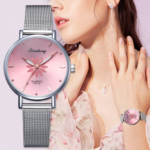 Luxury Silver Popular Pink Dial Flowers Metal Ladies Bracelet Quartz Clock Fashion Watch - babiesrhere