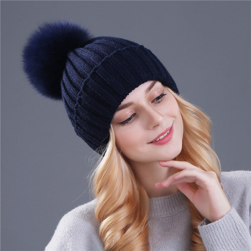 51641be65a8 Real fox fur pom poms ball Keep warm winter hat for women girl  s wool hat  knitted beanies cap