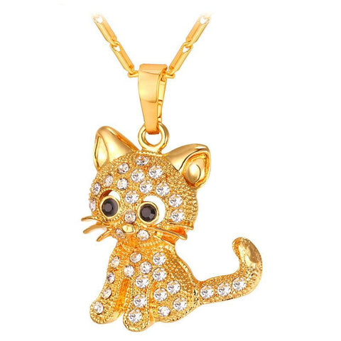Cute Cat Pendants & Chain Gold/Silver Color Rhinestone Women Jewellery Cat Necklaces Gift
