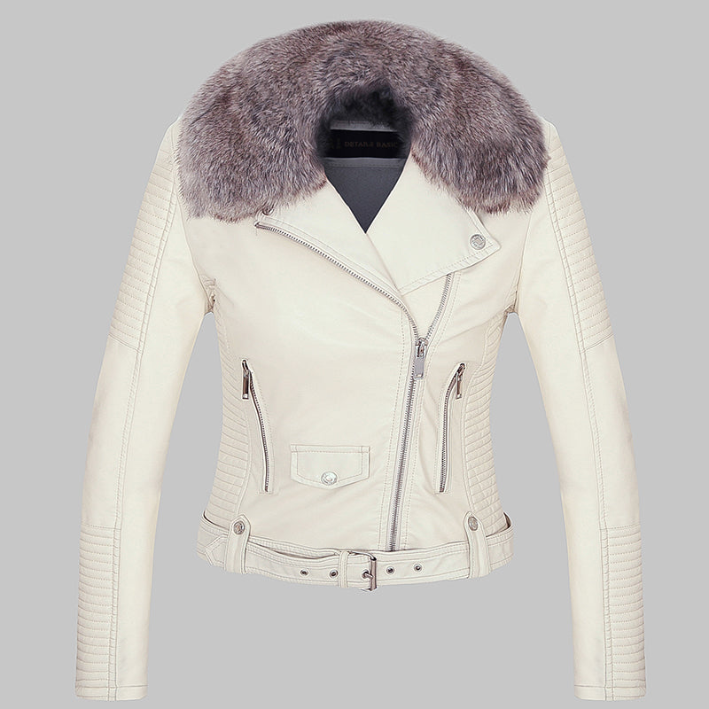 new high pretty cool cheap for discount Women winter coat faux leather jacket with Fur collar fur lined ...