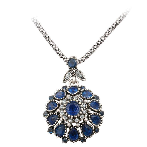 Hot Gorgeous Bohemia Vintage Jewelry Fashion Resin Silver -Plated Pendant Long Necklace Crystal
