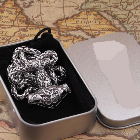 New arrival stainless steel Viking Goat Mjolnir rune thor hammer pendant necklace men gift