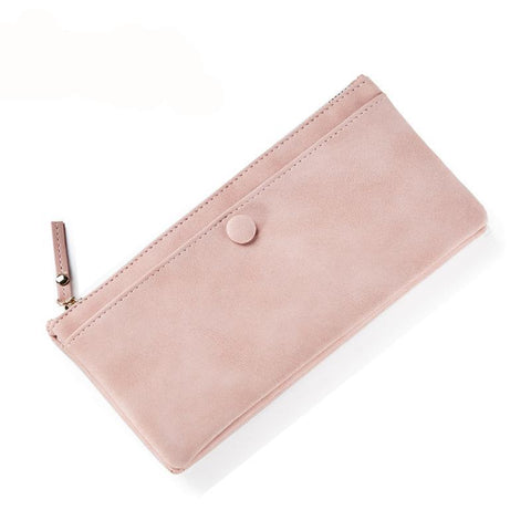 New arrival fashion women wallets PU solid color high quality thin zipper wallets for women