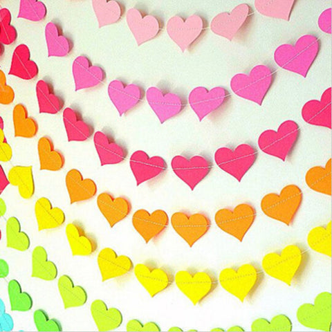 1 MeterPaper Garland Valentines Day Decoration Wedding Garland, Heart Banner Heart Garland - babiesrhere