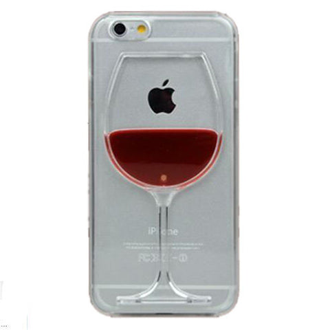 Red Wine Cup Liquid Transparent Case For Apple iPhone 7 7 plus 6 6S plus 5 5S 5C 4 4S Back Covers