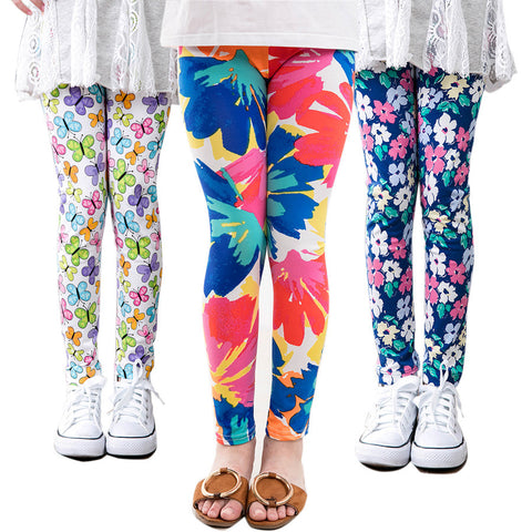 Girl Toddler Pants Printing Flower Classic Leggings  2-14Y Baby - babiesrhere