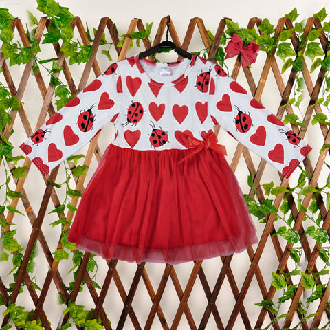Valentines Day Girls Dresses Baby Girl Clothes Wedding Dresses Long Sleeve Red Heart Cute Clothing - babiesrhere
