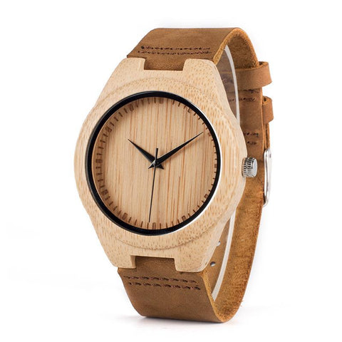 Miyota Movement Wristwatches Soft Leather Bamboo Wooden Watches for Men Women