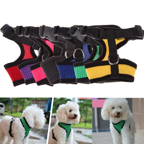 Tomoson: Adjustable Comfort Soft Breathable Dog Harness Pet Vest Rope Dog Chest Strap Leash Set Harness
