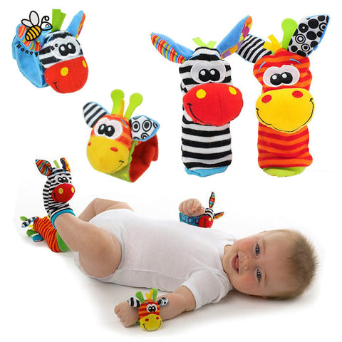 Cartoon Baby Toys 0-12 Months Soft Rattles Children Plush Sock Baby Toy Wrist Strap Baby Foot Socks - babiesrhere