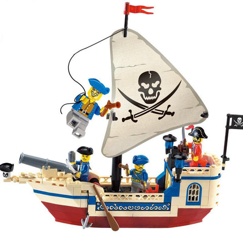 Enlighten 304 Pirates Series The Corsair Pearl Ship Bricks Kid Boys Toys Building Blocks with 4 figures for Halloween Gift