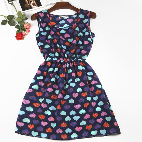 New Bohemian Floral Dresses Sleeveless Round Neck Vest Printed Beach Summer Autumn Plus Size Chiffon Dress