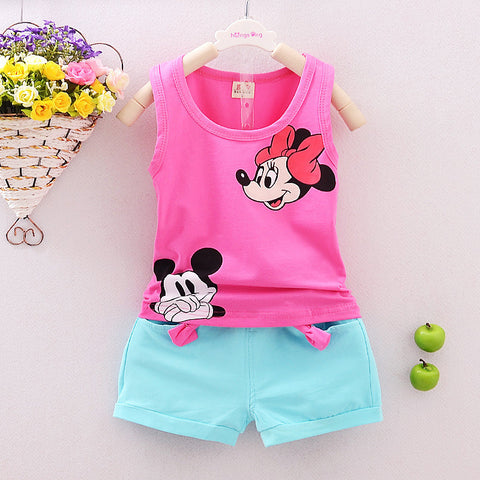 Tomoson: Minnie Spring Baby Clothing Sets Children Boys Girls Kids Brand Sport Suits Cotton Short + Pant