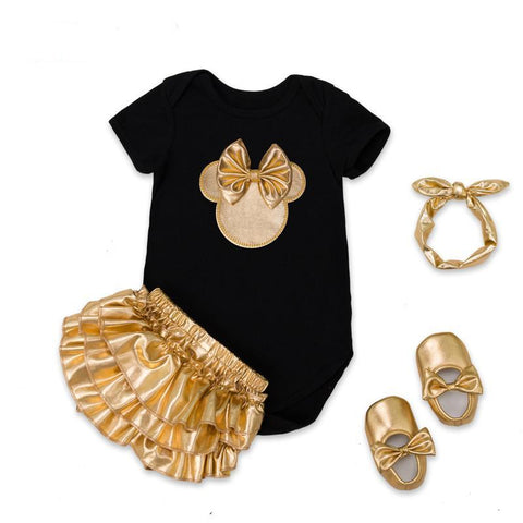 4pcs Clothing Sets Black Cotton Rompers Golden Ruffle Bloomer Shorts Shoes Headband  Newborn Clothes