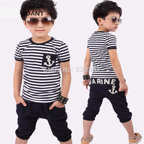 TANGUOANT hot sale summer clothing sets kids pants + Top boys girls Navy Stripe clothes tracksuit