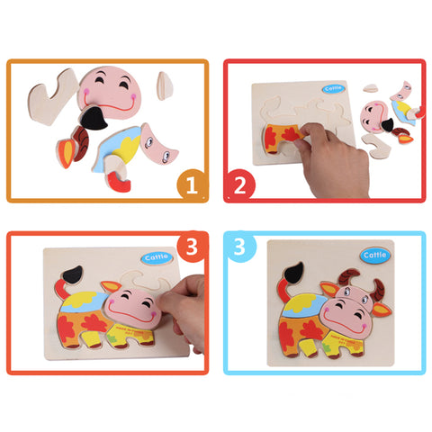 Wooden Toys For Children Cartoon Animal Puzzles Intelligence Kids Children Educational Toy