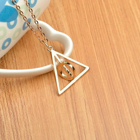 Hot Sale Movie Harry Potter Deathly Hallows Triangle Metal Pendant long Chain Necklace