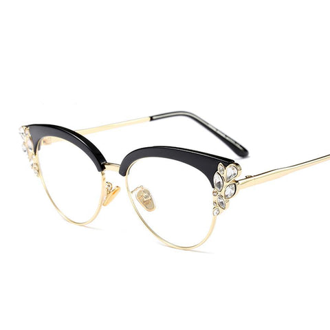 Peekaboo rhinestone cat eye glasses frames for women 2018 luxury sexy eyeglasses cat eye black
