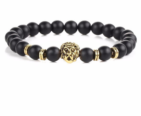 Black Lava Natural Stone Gold Color Lion strand Bracelet handmade Beads Bracelets Men Jewelry - babiesrhere
