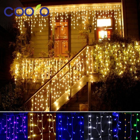 Christmas outdoor decoration 4.5m Droop 0.3-0.5m curtain icicle string led lights - babiesrhere
