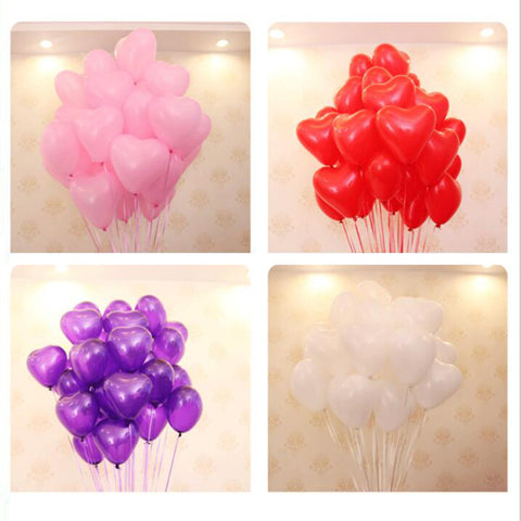 Multi Colors 12 Inches Red Love Heart Latex Wedding Helium Balloons Valentines Day Birthday Party