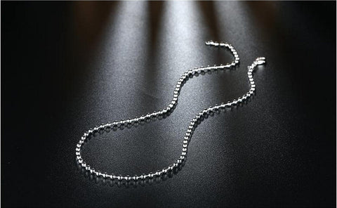 3MM Silver Beads Popcorn Chain Necklace Silver Jewelry
