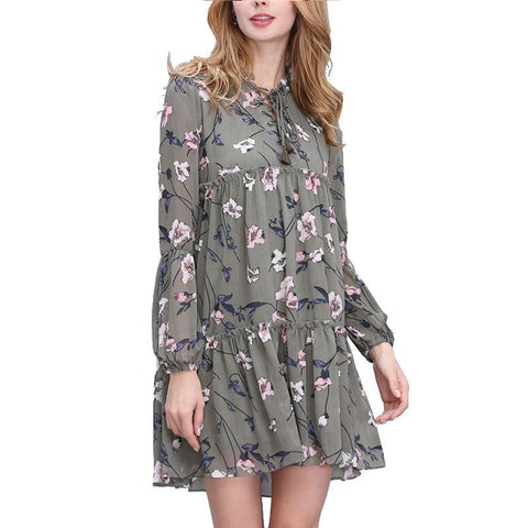 Women Summer Autumn Tops Print Floral Dress Ethnic Loose Bandage Boho Vintage Causal Dresses - babiesrhere