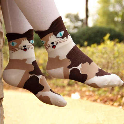 1Pair Fashion Women Cute Socks Cartoon Animals Socks Cat Footprints Cotton Short Ankle Socks - babiesrhere