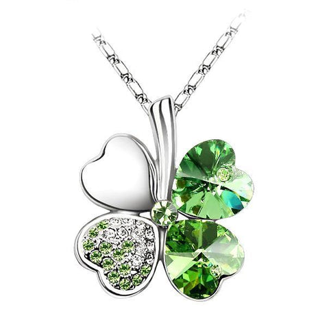Anngill Four Leaf Clover Pendant Necklace Crystals From Swarovski Elements Quality Jewelry Women - babiesrhere