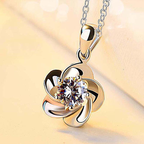 Hot Trendy bride Luxury Flower Necklace For Women Valentine's Day present wedding small Pendant - babiesrhere