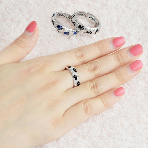 Chic Pet Dog Claw Rings For Women Crystal Rhinestones Alloy When I Am with My Pet Printed Rings