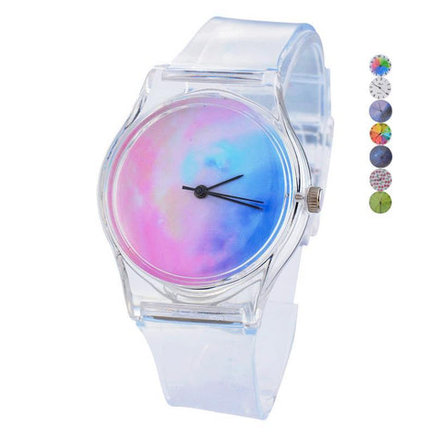 Women Transparent Silicone Watches Sport Casual Quartz Novelty Crystal Wrist Watches - babiesrhere