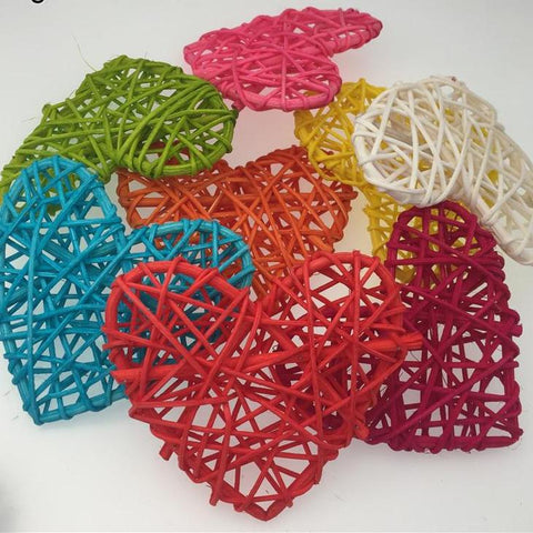 5pcs Colorful Heart Rattan Wicker Cane Decor Balls Home Garden Patio Christmas Wedding Decor Birthday Party Supplies