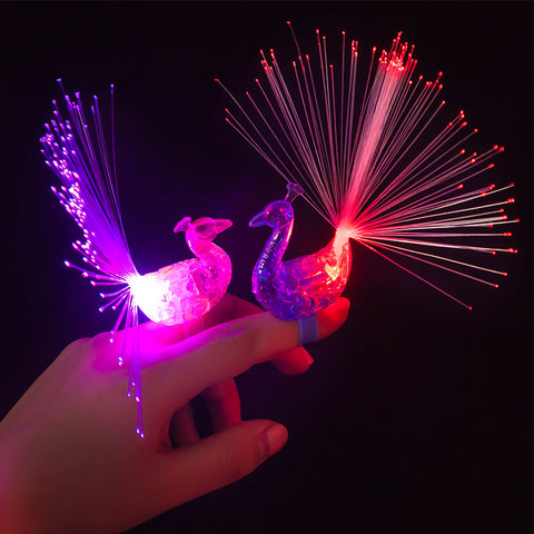 The new light color peacock finger lamp optical fiber lamp toys market stall goods for children