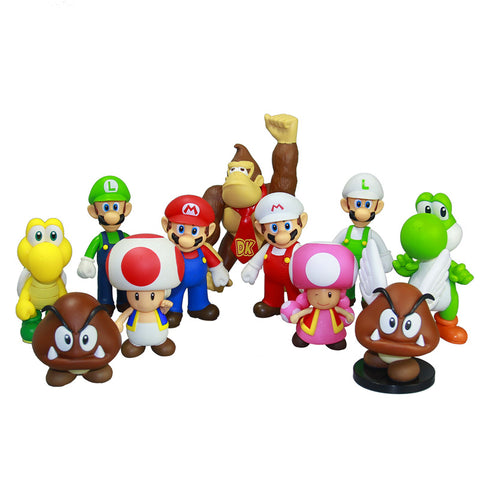 "Super Mario Bros Action Figure 12CM 4.7"" PVC Toy Doll Mario Luigi Yoshi New Game Movie TV Anime - babiesrhere"