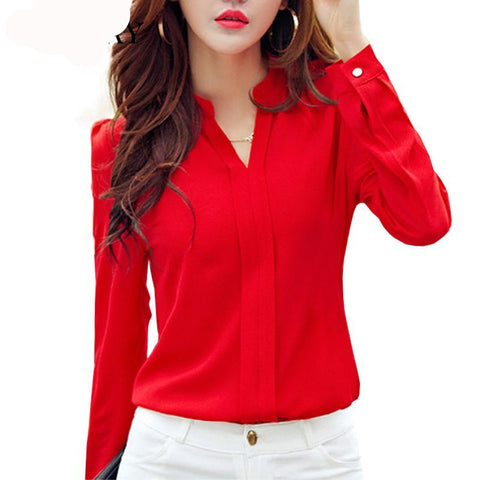 Long Sleeve Shirt Women Clothing 2017 Autumn Fashion Slim Neck Korean Ladies Office Shirts - babiesrhere