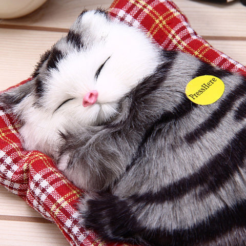 Stuffed Toys Lovely Simulation Animal Doll Plush Sleeping Cats Toy with Sound Kids Toy Gift