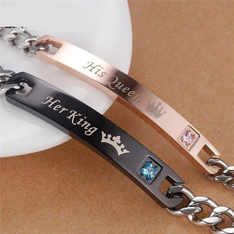 Valentine's Day Bracelet His King For Couple Men Women Stainless Steel Jewelry - babiesrhere