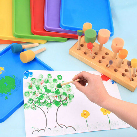 4 Set yellow sponge brush seal sponge paint brush original wooden handle children's painting toys
