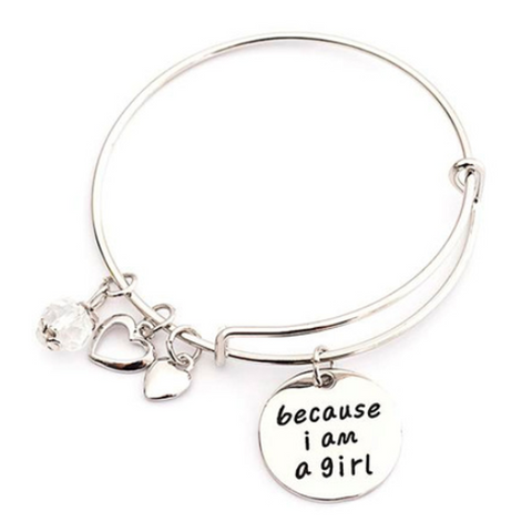 Because I am a Girl Charm Bangle (Shipped From USA) - babiesrhere